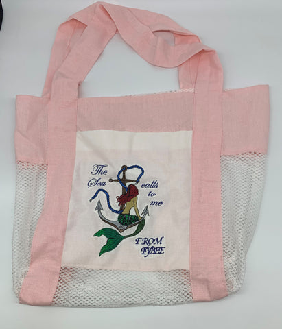Pink Cotton Mermaid Sitting on Anchor Beach Bag by Marianne Bramble