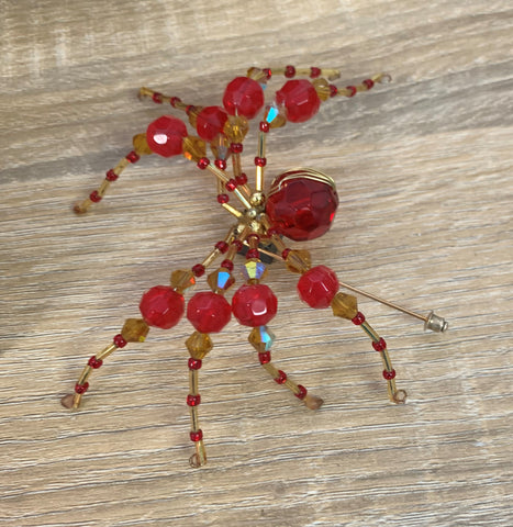 Red Beaded Jointed Spider
