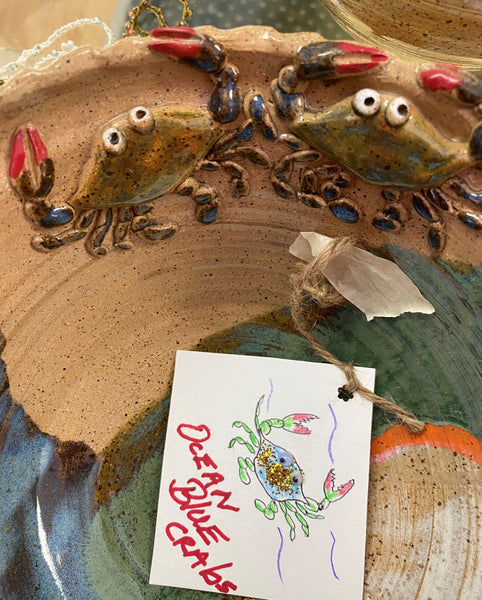 """Ocean Blue Crabs Bowl"" Original Stoneware by Polly Cooper"