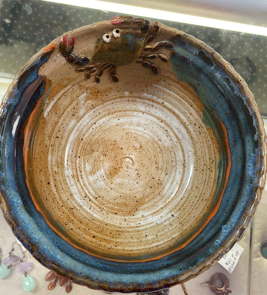 """Ocean Blue Crab Bowl"" Original Stoneware by Polly Cooper"
