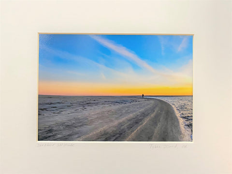 """Sandbar Solitude"" Matted Photographic Print by Judy Lombard"