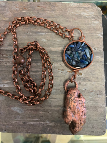Antique Copper Necklace with Kyanite Chips by Sarah Bernzott