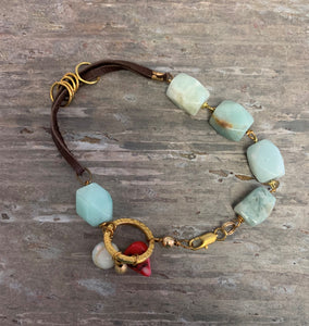 Amazonite Leather Bracelet by Sarah Bernzott