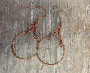 Hand-Formed Copper Earrings by Sarah Bernzott
