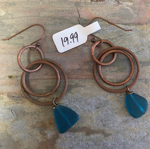 Blue Sea Glass Earrings by Sarah Bernzott