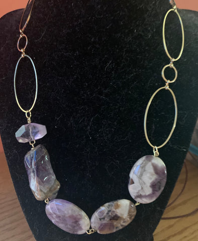 Dog-tooth Oval Amethyst Necklace by Sara Bernzott