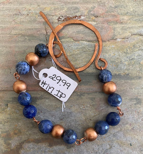 Hand Wrought, Copper Hammered Bracelet  with Sodalite and Lapiz by Sarah Bernzott 117