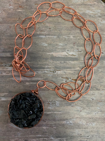 Recycled Plumbing Copper with Onyx Chips Necklace by Sarah Bernzott