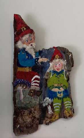 """Double Gnome II""  Acrylic on Wood by Ting Blessington"