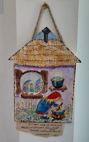 """Gnomes Cook""  Watercolor on Wood by Ting Blessington"