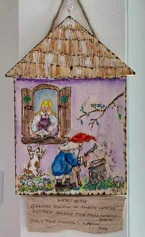 """Gnomes Dwell"" Watercolor on Wood by Ting Blessington"
