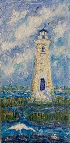 """Lighthouse with Egret"" Original Acrylic by Ting Blessington"