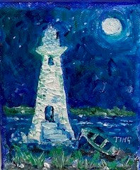 """Lighthouse with Boat"" Original Acrylic by Ting Blessington"