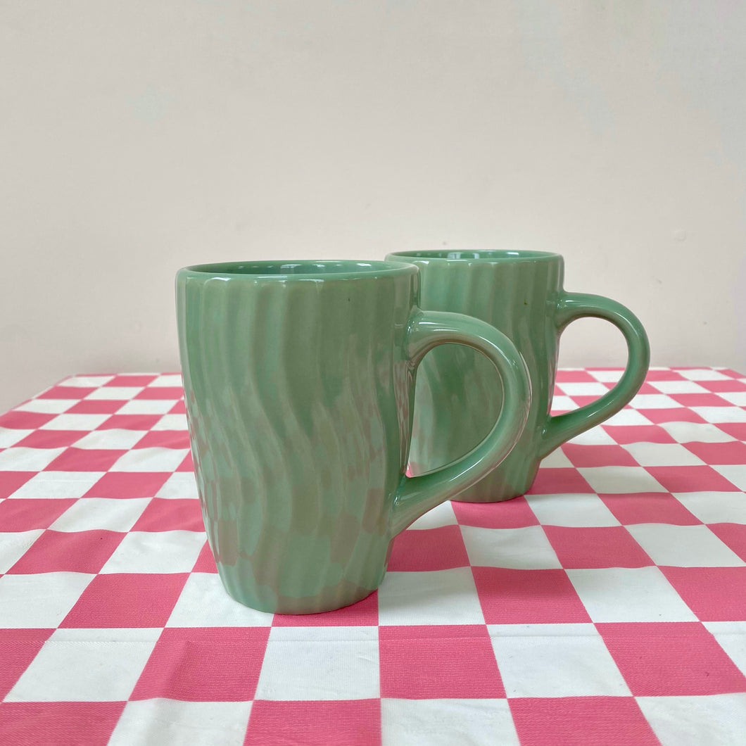 Two Wavy Green Mugs