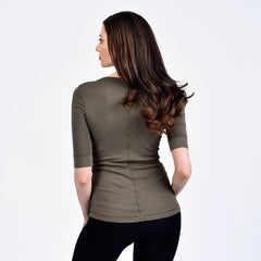 raw edge 1/2 sleeve modern crew - I Want Sense, Sense Clothing, Sense Active Spa Travel Wear for Women, Senseclothing.com