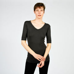 charcoal raw edge 1/2 sleeve modern v - I Want Sense, Sense Clothing, Sense Active Spa Travel Wear for Women, Senseclothing.com