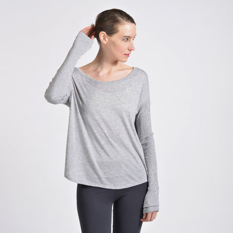 Sense Clothing rib long sleeve T in heather