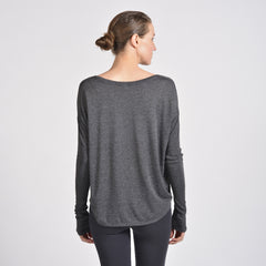 Sense Clothing rib long sleeve T in dk heather grey