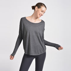 Sense Clothing rib long sleeve T in Dark Heather