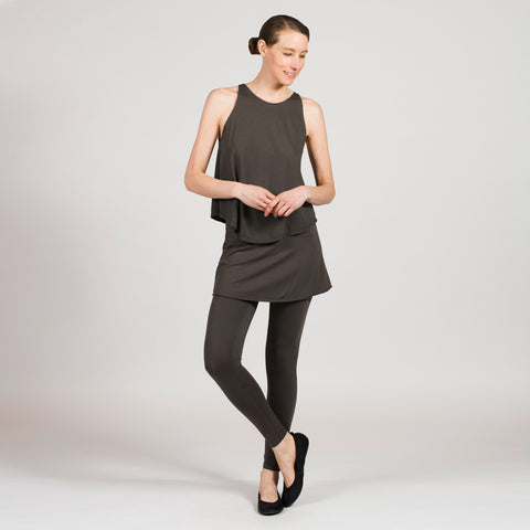 pant with built in skirt. sense clothing active ankle. color smoke