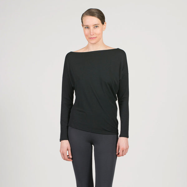 sense clothing bias boatneck top in black.