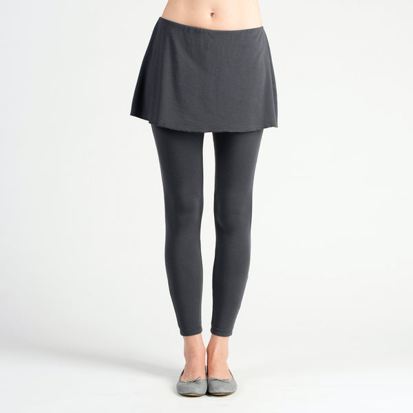 pant with built in skirt. sense clothing active ankle. color charcoal