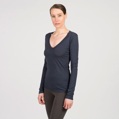Sense Clothing V neck Modal Supima T in charcoal