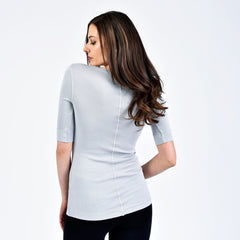 raw edge 1/2 sleeve modern v