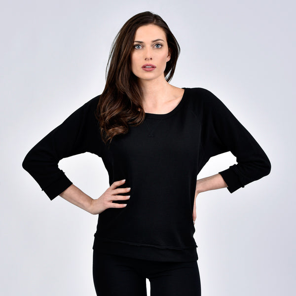 raw edge sweatshirt - I Want Sense, Sense Clothing, Sense Active Spa Travel Wear for Women, Senseclothing.com