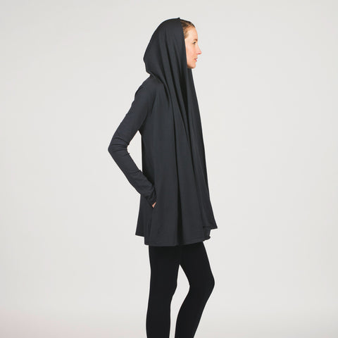 Sense clothing jacket with pockets. cotton & modal blend. shawl turns into hood. in charcoal