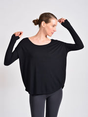 Sense Clothing rib long sleeve T in black