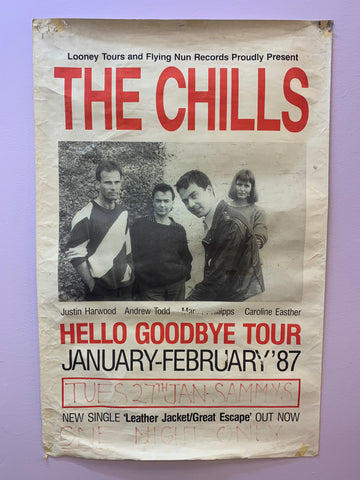CHILLS THE - HELLO GOODBYE TOUR 1987 ORIGINAL GIG POSTER