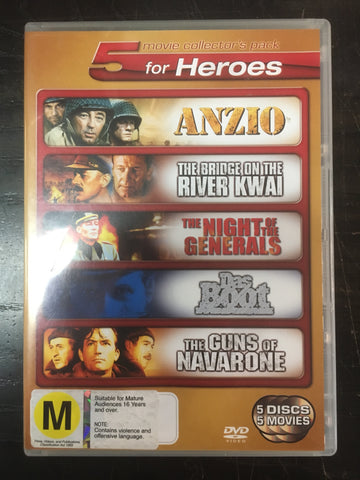 5 FOR HEROES MOVIE COLLECTORS PACK-DVD VG