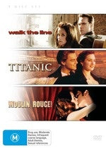 WALK THE LINE + TITANIC + MOULIN ROUGE 3DVD VG+