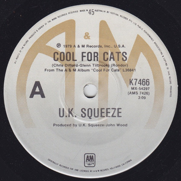 UK SQUEEZE-COOL FOR CATS 7'' EX