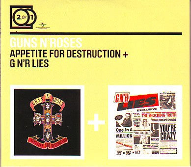GUNS N ROSES-APPETITE FOR DESTRUCTION + G N'R LIES 2CD VG