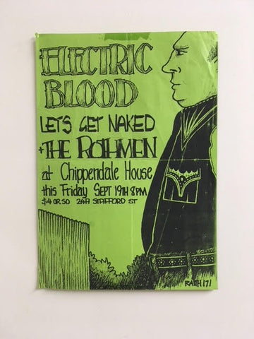 ELECTRIC BLOOD LETS GET NAKED THE ROTHMEN CHIPPENDALE HOUSE GIG POSTER