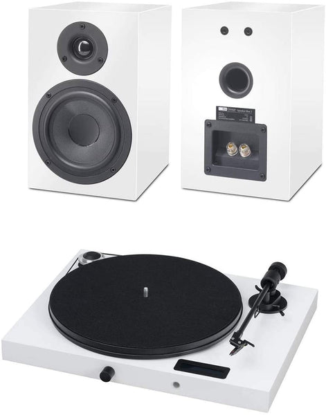 PROJECT-JUKE BOX E TURNTABLE AMP BLUETOOTH & SPEAKER BOX HI-FI SET WHITE *NEW*