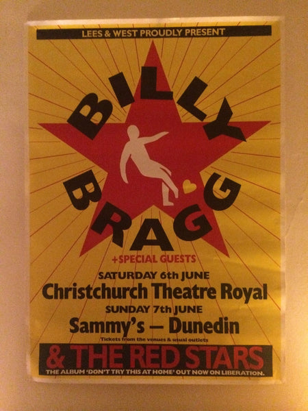 BILLY BRAGG ORIGINAL NZ TOUR POSTER