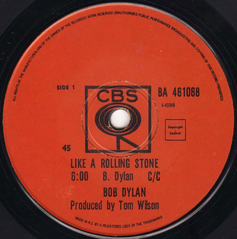 DYLAN BOB-LIKE A ROLLING STONE 7'' SINGLE VG