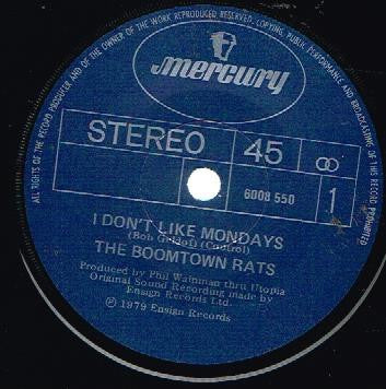 BOOMTOWN RATS THE-I DON'T LIKE MONDAYS 7'' VG