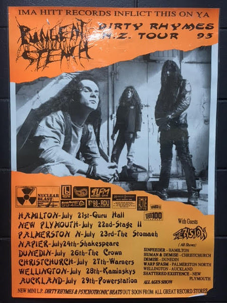 PUNGENT STENCH 1993 NZ TOUR POSTER LAMINATED