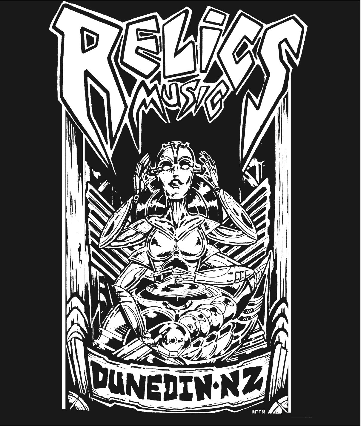RELICS BLACK T SHIRT DESIGNED BY RATT 2020 LARGE