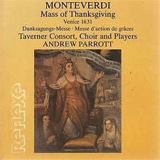 MONTEVERDI-MASS OF THANKSGIVING TAVERNER CONSORT 2CD VG