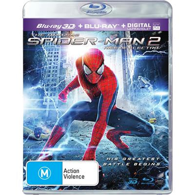 SPIDERMAN 2-RISE OF ELECTRO 3D BLURAY + BLURAYY VG+