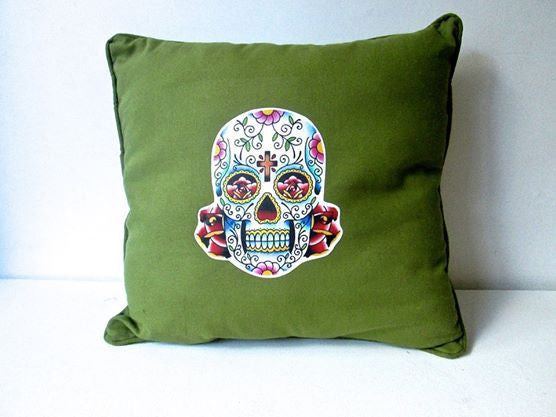 MEXI SKULL CUSHION GREEN-EYE CANDY *NEW*