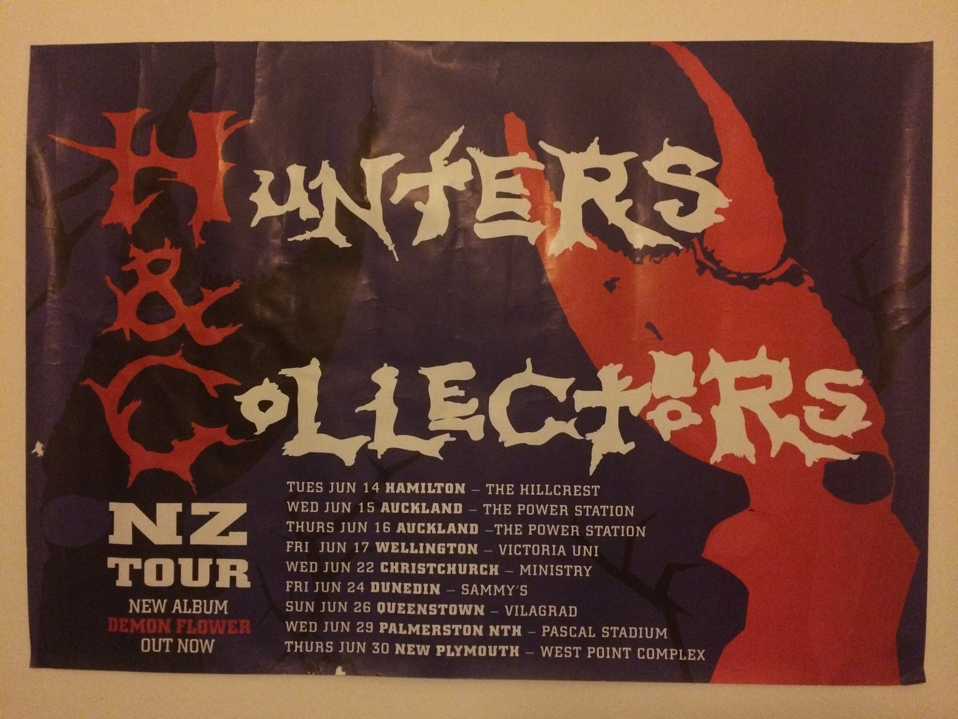 HUNTERS & COLLECTORS ORIGINAL NZ TOUR POSTER