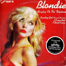 "BLONDIE-HANGING ON THE TELEPHONE BLUE VINYL 12"" VG COVER VG+"