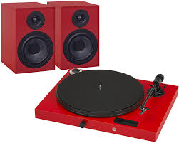 PROJECT-JUKE BOX E TURNTABLE AMP BLUETOOTH & SPEAKER BOX HI-FI SET RED *NEW*