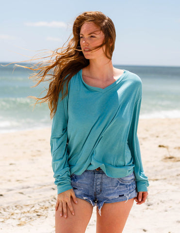 Wildfox - Essential Baggy Beach V-Neck Ocean - Bungalow Seven - 1
